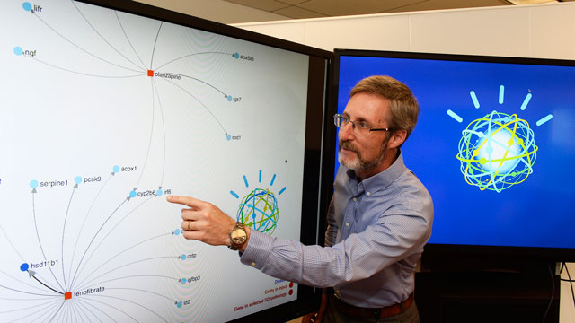 Data scientist Scott Spangler explains how IBM Watson's cognitive technology can visually display connections from different sources of information. Photo courtesy of IBM.