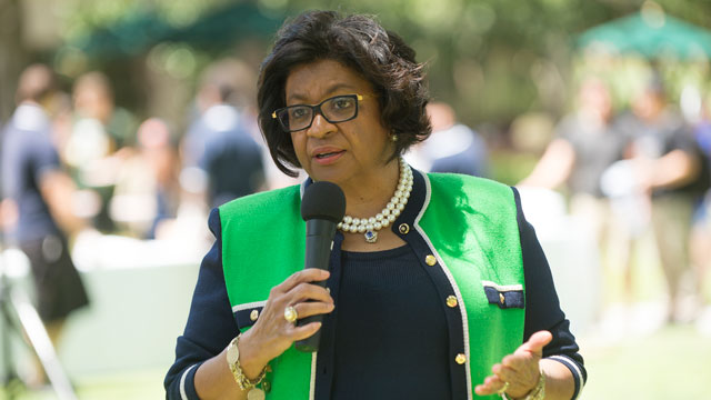 University President Soraya M. Coley fields questions during Pizza with the Presidents at Cal Poly Pomona May 3, 2016.