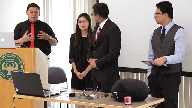 A student team presents their project during CPP Shark Tank.