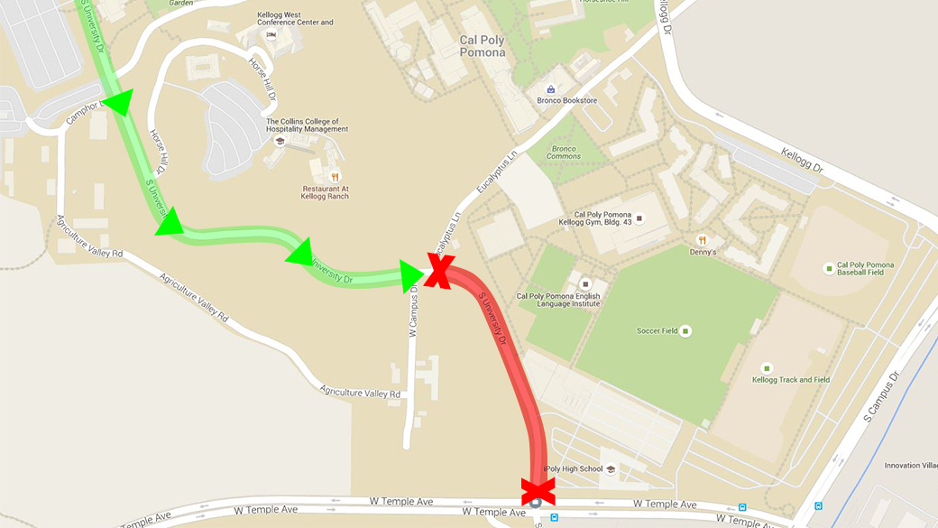 University Drive will be closed between Temple Avenue and Eucalyptus Lane from July 5 to 8  for repaving.
