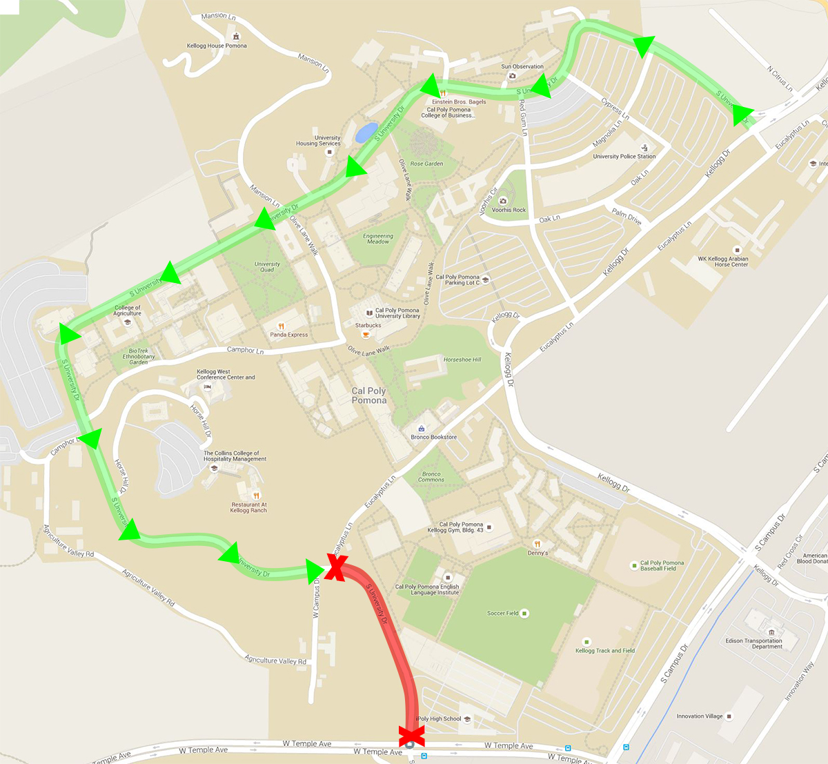 The green highlighted route on the map indicates the University Drive detour. The red indicates the closed portion. Click on the map for a larger view.