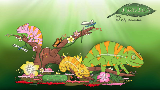 "A new design dubbed ""A New Leaf"" has been selected for the 2017 Cal Poly Universities' Rose Float entry."