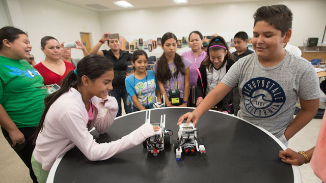 Squad Chain and Robot Mama battle during robot rally for kids in the Migrant Education Summer Program at Cal Poly Pomona August 4, 2016.