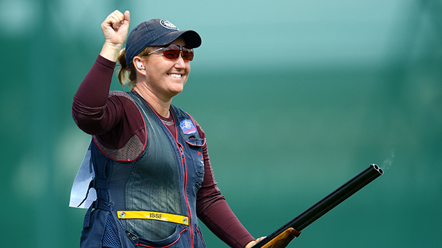 Kim Rhode competes in skeet shooting at the 2012 Olympics in London.