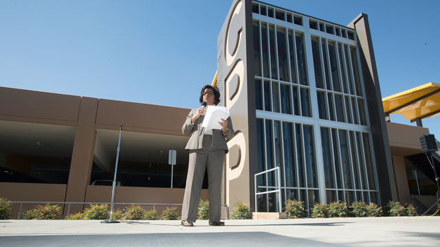 Cal Poly Pomona had a grand opening ceremony for the university's second parking structure.