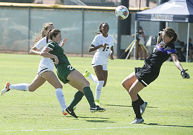 Sommer Larrabee has her shot blocked by CBU keeper Sara Escobedo during the Broncos 3-0 loss at Cal Baptist University.