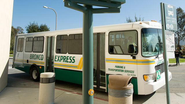The Bronco Shuttle supplanted the old campus tram in 2003.