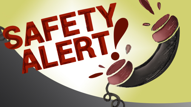 Graphics with words Safety Alert and telephone