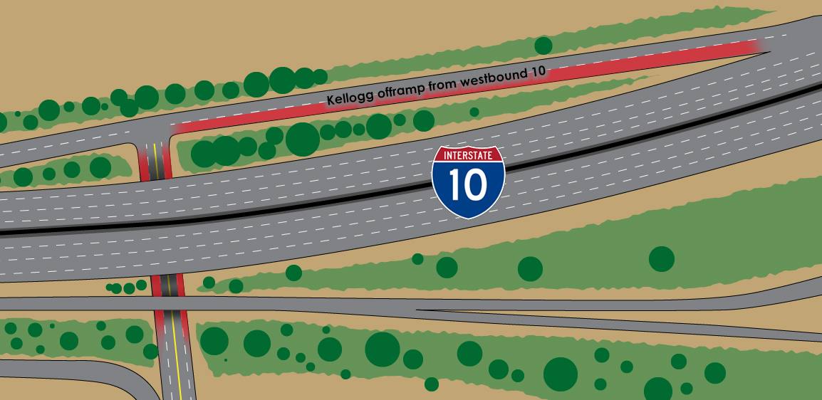 Areas marked in red indicate lane closures.