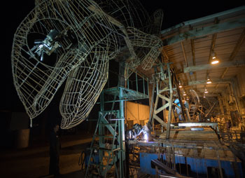 """This year's float, """"A New Leaf,"""" features a family of giant chameleons exploring their world and is designed, constructed and decorated by students from Cal Poly Pomona and Cal Poly San Luis Obispo."""