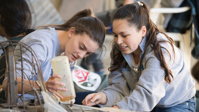 Sarah Hasel and Jessica Cameron from Cal Poly Pomona apply screening to the 2017 Cal Poly Universities Rose Float entry.