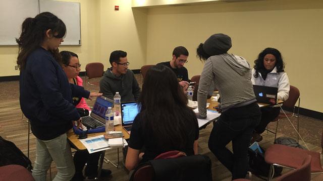 Power Go team during 3 Day Startup: Ayris Cornwell, Jocelyn Spears, Nazeerah Hazza, Laura Barrera, Casandra Perez, Adrian Reyes and Jonathan Horvath.