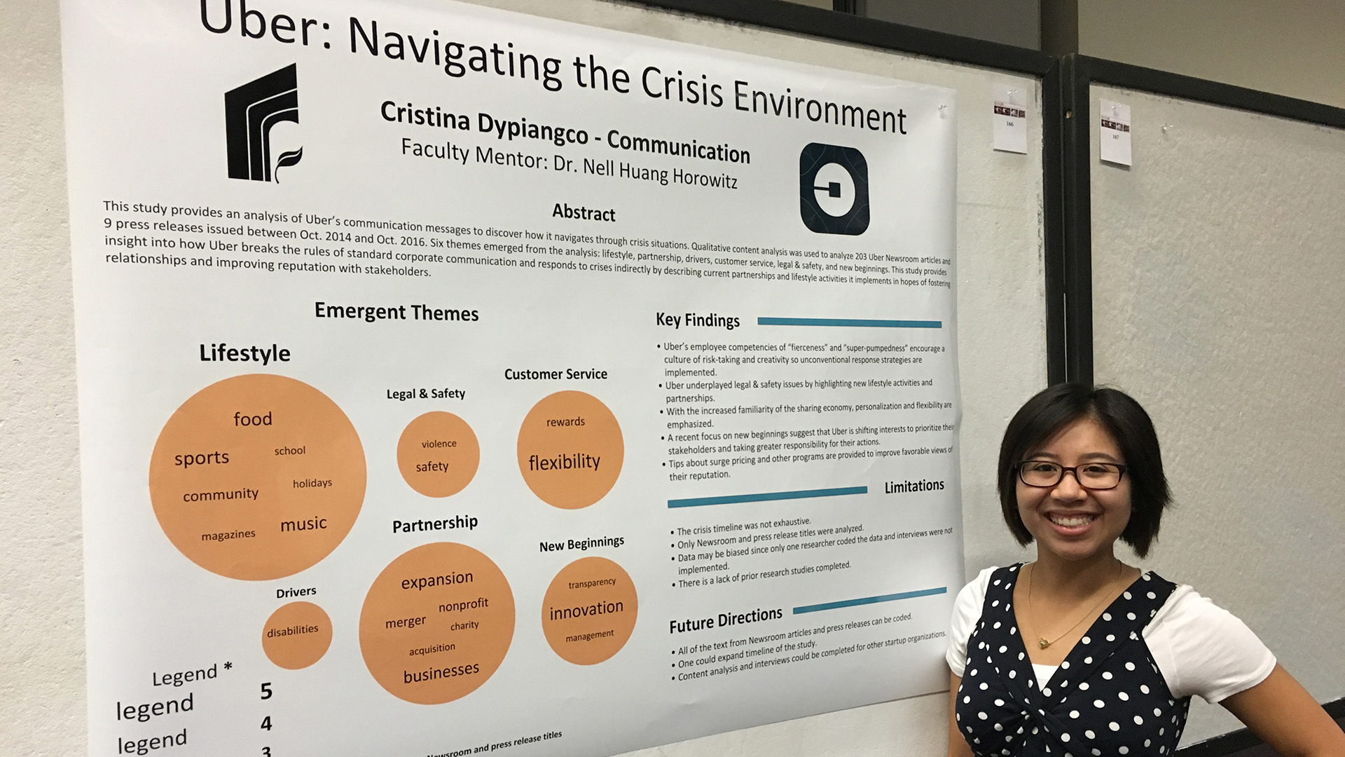 The research project by Cristina Dypiangco examined Uber's unorthodox corporate strategies when responding to a crisis.