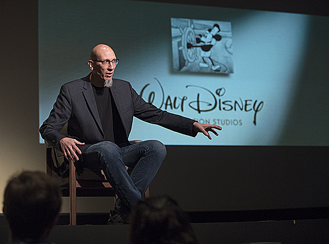 Roy Conli, a theater alum and a producer with Walt Disney Animation Studios, speaks to theater students at Cal Poly Pomona.