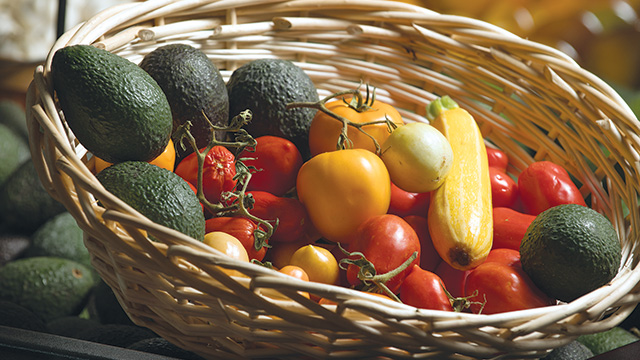 Seasonal produce grown on campus has become part of the menu at Los Olivos.