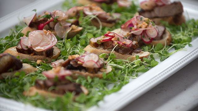 Thai-Inspired Pork Belly Toast at the second annual Spring Harvest Farm 2 Table dinner event.