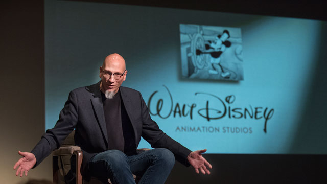 Oscar winning producer Roy Conli ('83, drama) talks to students about his career at The Walt Disney Animation Studios.