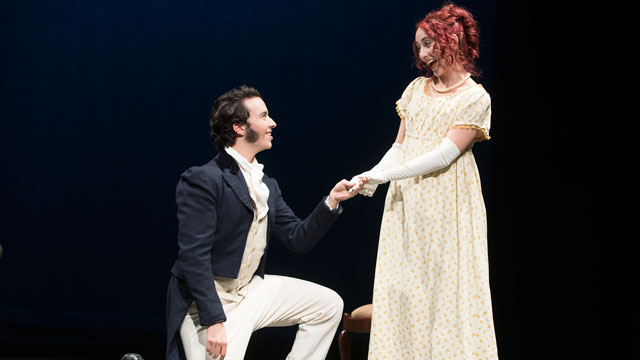Omar Busailah plays Mr. Bingley and Ana Lina Garcia plays Jane Bennet in the Cal Poly Pomona theatre department's production of Pride & Prejudice.