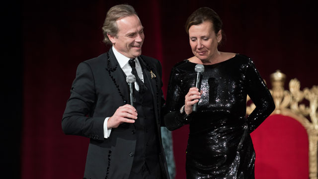 Jean-Charles Boisset and Gina Gallo receive the Robert Mondavi Wine and Food Award at the annual Hospitality Uncorked gala March 4.