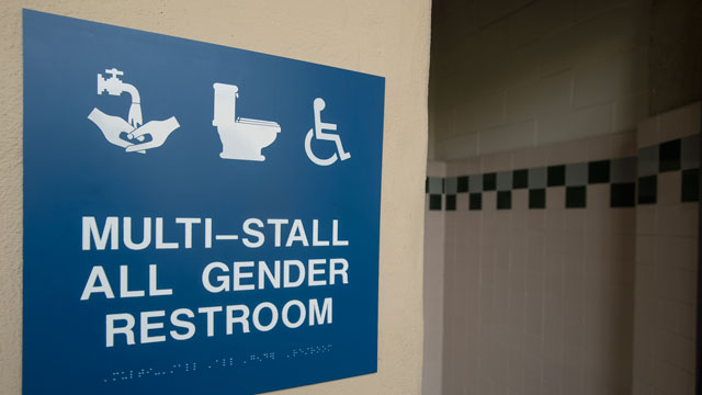 "Sign showing ""Multi-Stall All Gender Restroom"""