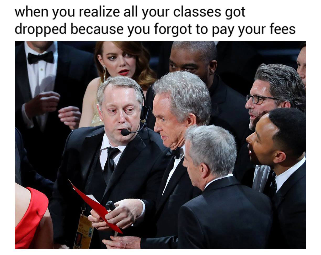 A meme on student fees Velasco posted plays on the recent Oscar Awards debacle.