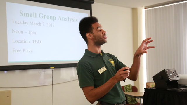 Tim Alexander, graduate assistant for the Project SUCCESS program, addresses the participants. Photo credit: Lily Ly, Cal Poly Pomona Foundation photographer
