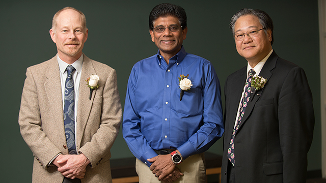 "Craig W. LaMunyon, from left, Mariappan ""Jawa"" Jawaharlal and Jeffery S. Mio gave insights about their academic careers at the Provost's Awards for Academic Excellence Symposium on March 2."