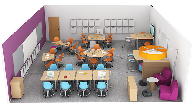 Rendering of the $65,000 classroom includes movable furniture and other amenities. Installation is scheduled to begin in the summer and be completed by the fall quarter.