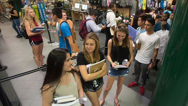 Students in line at the Bookstore
