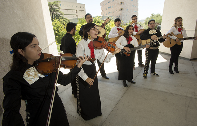 Professor Jessie Vallejo and Mariachi Los Broncos de Pomona perform at Faculty Day at Cal Poly Pomona.