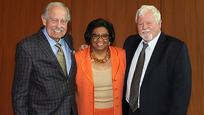"President Soraya M. Coley with Ron Simons and W.B. ""Butch"" Lindley"