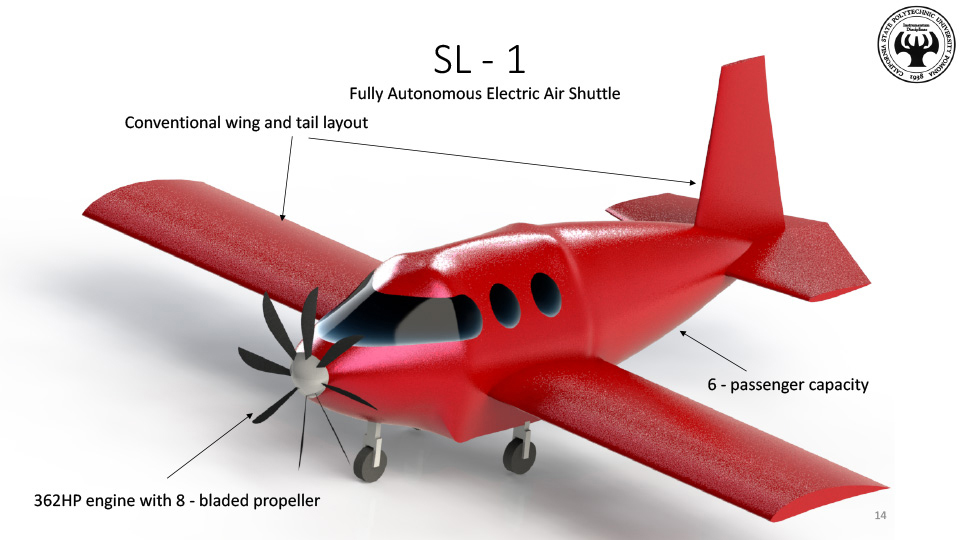 The team developed a fully electric aircraft concept that could carry six passengers and operate in the Los Angeles area.