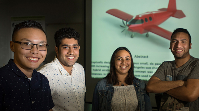 The Cal Poly Pomona team of Raghav Handa, Michael Pham, Alex Callahan and Gabriela Lopez