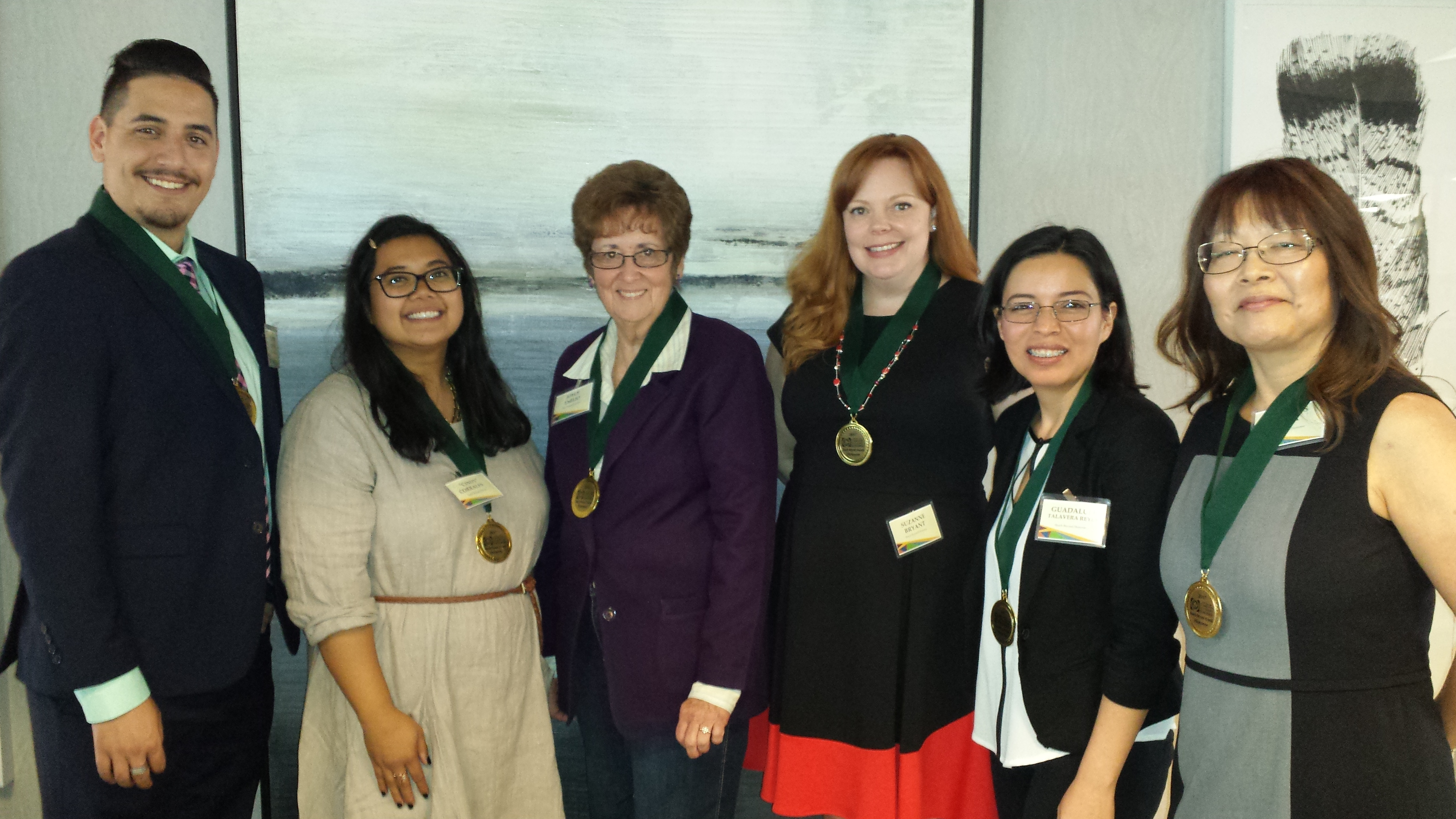 "Recipients of the 2017 Reach Beyond Awards are Matthew Rodney, Cynthia ""Cindy"" Corrales, Joyce Emilio, Suzanne Bryant, Guadalupe Talavera Reyes and Frances Loya."