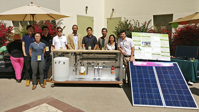 Cal Poly Pomona team with their multi-level filtration system