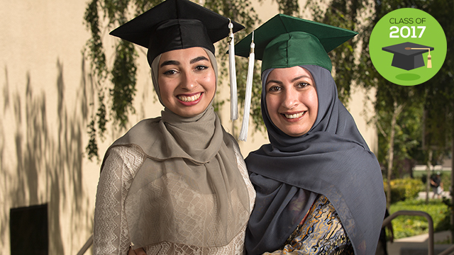 Rehana Parekh, the valedictorian for the College of Letters, Arts and Social Sciences, with her daughter Zainab, who is graduating with her