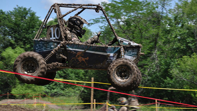 The Bronco car with driver Paul Doxie during the Baja SAE endurance run.