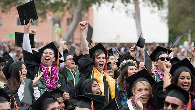 Cal Poly Pomona grads celebrating during Commencement