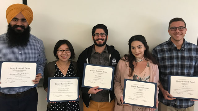 The winners of the second annual Library Research Award contest came up with project topics ranging from communications to the environment.