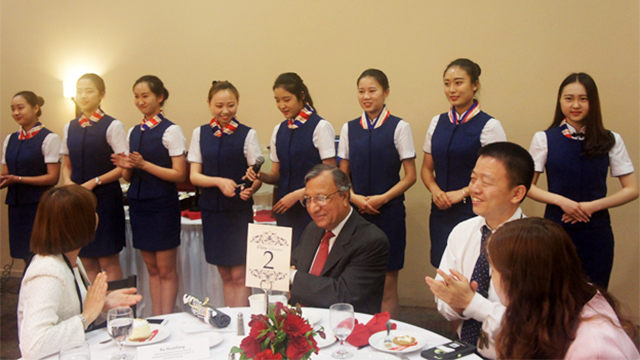 Ten international students from China who are attending Aviation Hospitality Program (AHP) at CPP provided service to our guests during the banquet.
