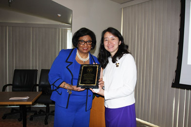 President Soraya M. Coley with the delegation leader Madam Shen Xuesong (Deputy Secretary-General of China Education Association for International Exchange CEAIE)
