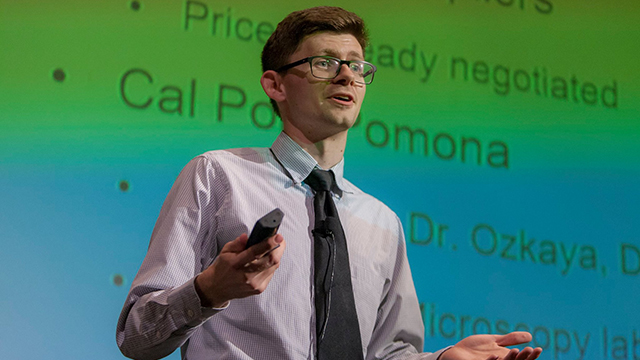 Tim DenOuden, a junior majoring in computer information systems, presented at the 2017 Bronco Startup Challenge as part of the winning BioScope team that took home the $10,000 prize.
