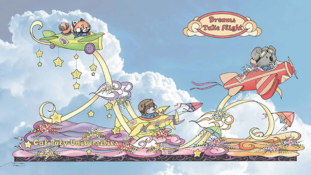 """Three young animals soar into the sky in homemade planes as """"Dreams Take Flight"""" on the 2018 Cal Poly Universities' Rose Parade float."""
