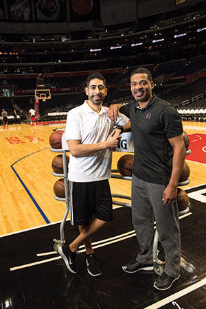 Jasen Powell ('95, kinesiology) is the head athletic trainer for the Clippers, and Marco Nuñez ('01, kinesiology) is the head athletic trainer for the Lakers.