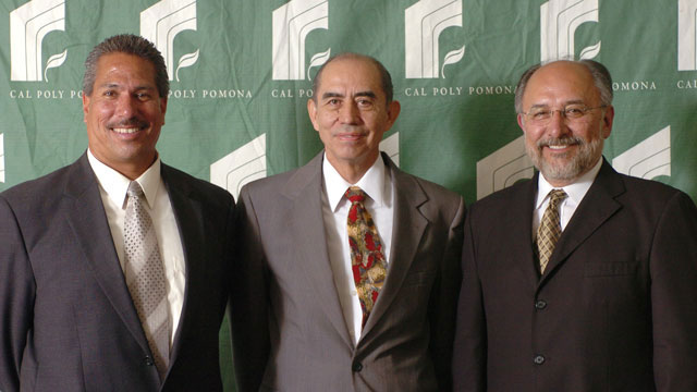 Aureliano Ruiz (center) was named counselor emeritus in 2006. He was recognized by then Academic Senate Chair Francis Flores (left) and President Emeritus Michael Ortiz.