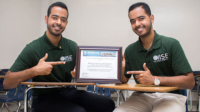 Twin brothers Bader and Mohammed Alhathal took first place at the 2017 Institute of Industrial and Systems Engineers (IISE) Global Conference. Photo Credit: Chris Park.
