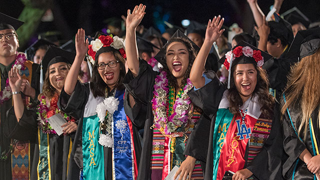 Students celebrate during the 2017 commencement ceremony.