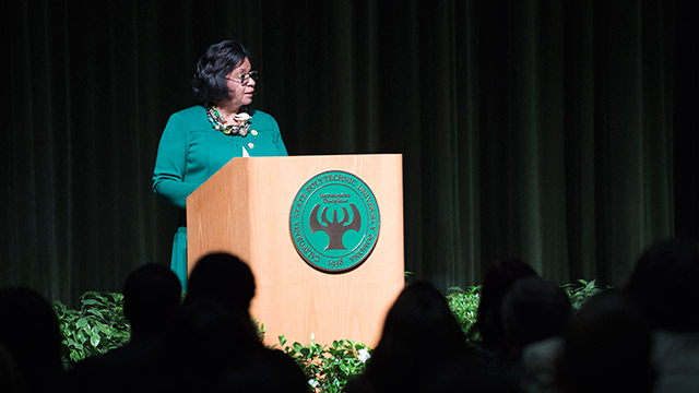 President Soraya Coley speaks during the 2017 Fall Conference.