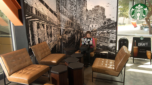 The remodeled Starbucks in the University Library has reopened and features a configured interior and new furnishings.