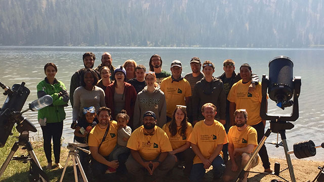 Cal Poly Pomona students, recent alumni and Prof. Matthew Povich at Bull Trout Lake, in Idaho.